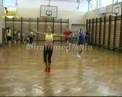 Aerobik edzés a Kenderföldi Ált. Iskolában (Károcs Attila,   Scheider Barbara,  Hegyiné Tó